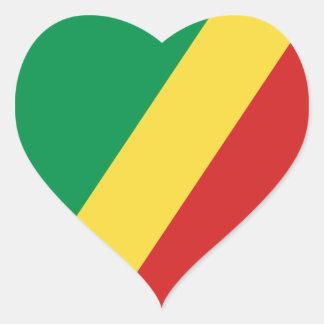 Congo-Brazzaville Flag Heart Sticker