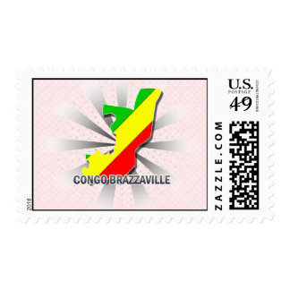 Congo Brazzaville Flag Map 2.0 Postage Stamps