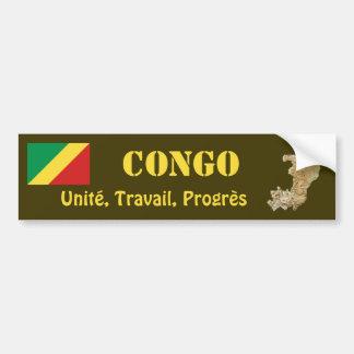 Congo-Brazzaville Flag + Map Bumper Sticker