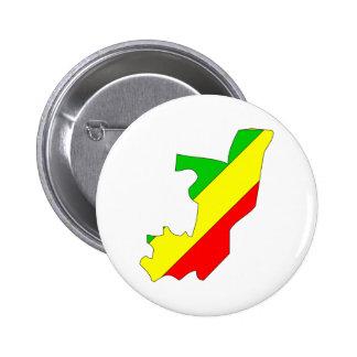 Congo Brazzaville Flag Map full size Pin