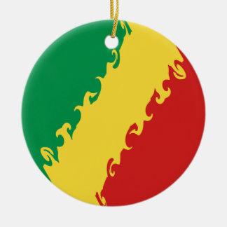 Congo-Brazzaville Gnarly Flag Ceramic Ornament