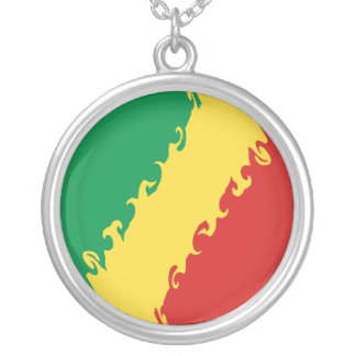 Congo-Brazzaville Gnarly Flag Personalized Necklace