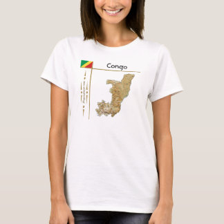 Congo-Brazzaville Map + Flag + Title T-Shirt