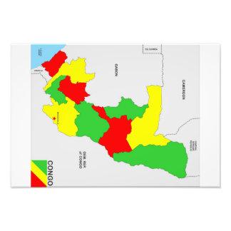 congo country political map flag photo print