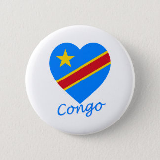 Congo Democratic Republic Flag Heart Button