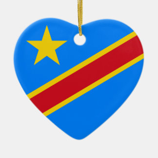 Congo Democratic Republic Flag Heart Ceramic Ornament