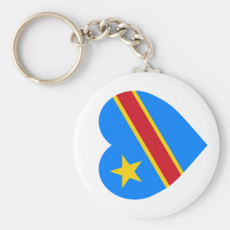 Congo Democratic Republic Flag Heart Keychain