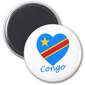 Congo Democratic Republic Flag Heart Fridge Magnets