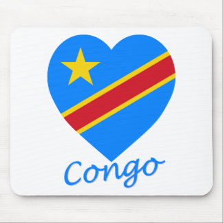 Congo Democratic Republic Flag Heart Mouse Pad