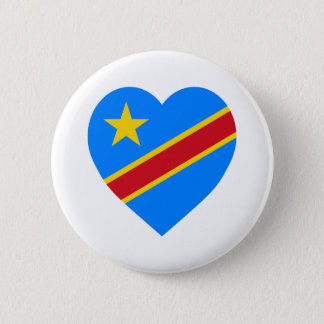 Congo Democratic Republic Flag Heart Pinback Button