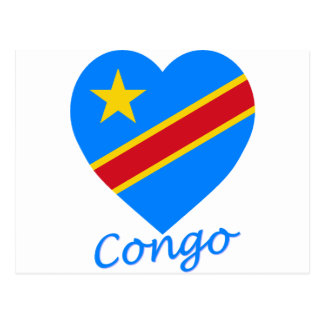 Congo Democratic Republic Flag Heart Postcard