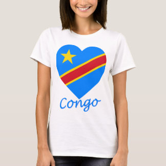 Congo Democratic Republic Flag Heart T-Shirt