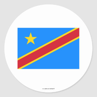 Congo Democratic Republic Flag Round Stickers