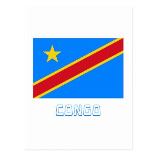 Congo Democratic Republic Flag with Name Postcard