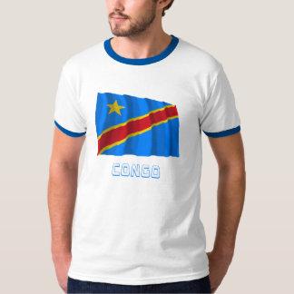 Congo Democratic Republic Waving Flag with Name T-Shirt