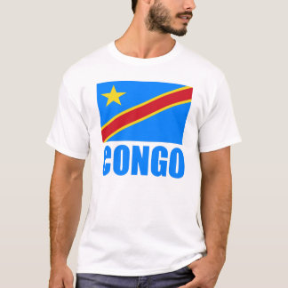 Congo Flag Blue Text T-Shirt
