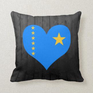 Congo flag colored throw pillow