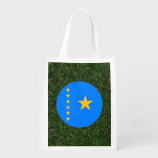 Congo Flag on Grass Grocery Bag