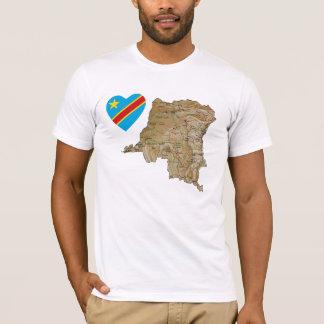 Congo-Kinshasa Flag Heart and Map T-Shirt