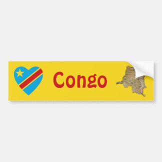 Congo-Kinshasa Flag Heart + Map Bumper Sticker