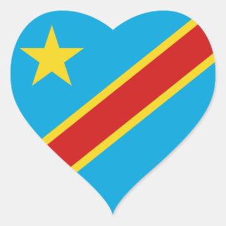 Congo-Kinshasa Flag Heart Sticker