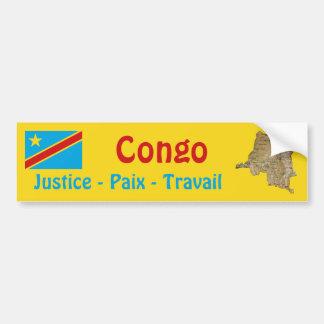 Congo-Kinshasa Flag + Map Bumper Sticker