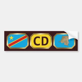 Congo-Kinshasa Flag Map Code Bumper Sticker