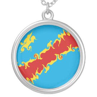 Congo-Kinshasa Gnarly Flag Silver Plated Necklace