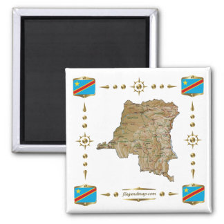Congo-Kinshasa Map + Flags Magnet