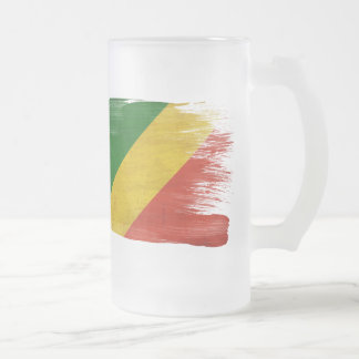 Congo Republic Flag Frosted Glass Beer Mug