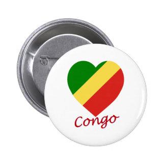 Congo Republic Flag Heart Button