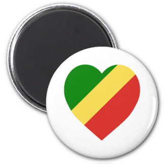 Congo Republic Flag Heart Refrigerator Magnets