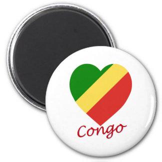 Congo Republic Flag Heart Magnets
