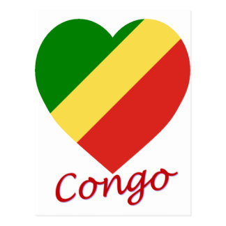 Congo Republic Flag Heart Postcard