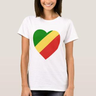 Congo Republic Flag Heart T-Shirt