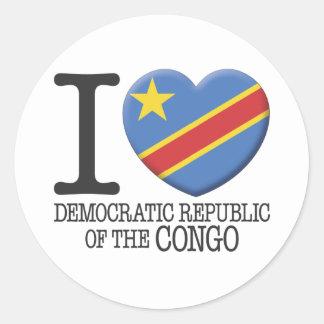 Congo, república Democratic del Pegatina Redonda
