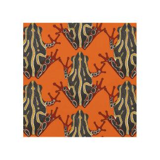 congo tree frog orange wood wall art