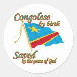 Congolés por el nacimiento ahorrado por la gracia pegatina redonda