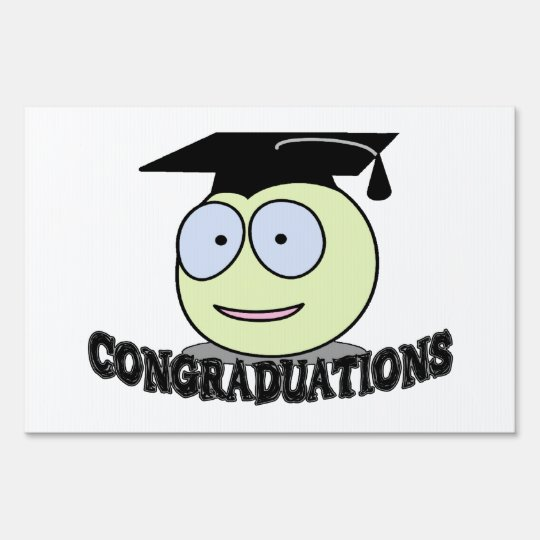Congraduations Smiley With Grad Cap Sign