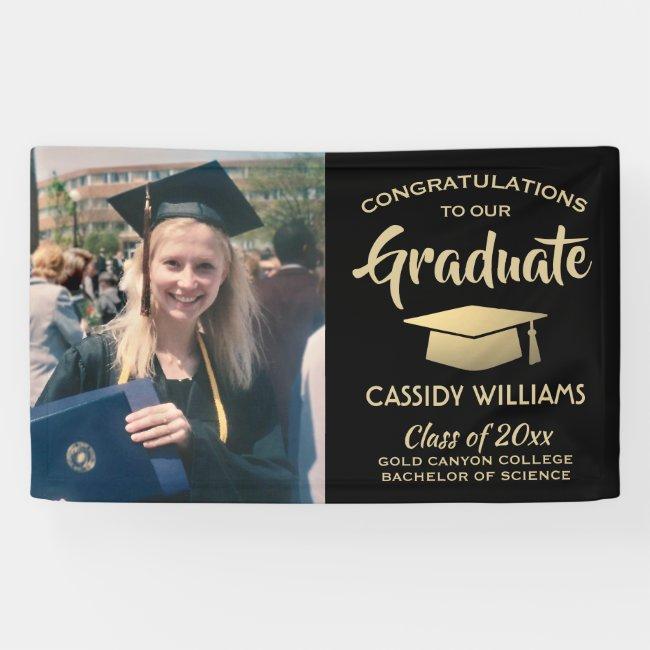 Congrats 1 Photo Black and Gold Modern Graduation Banner