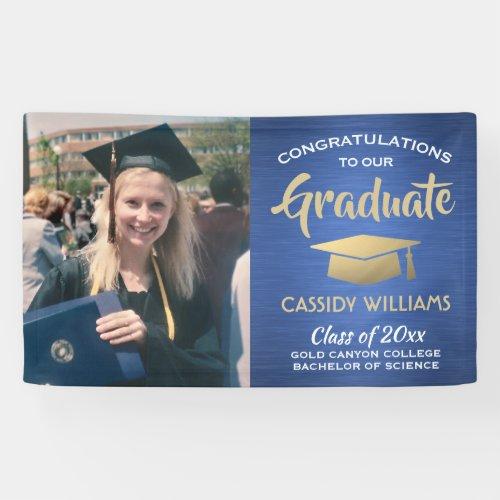 Congrats 1 Photo Blue Gold White Modern Graduation Banner