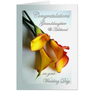 Congrats a la nieta y al marido en el boda tarjeta de felicitación