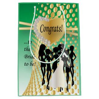 Congrats a la novia a ser verde del | bolsa de regalo mediana