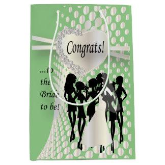 Congrats a la novia a ser verde menta del | bolsa de regalo mediana