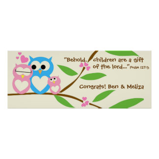 Congrats, Baby Girl Owl Baby Shower Banner Poster