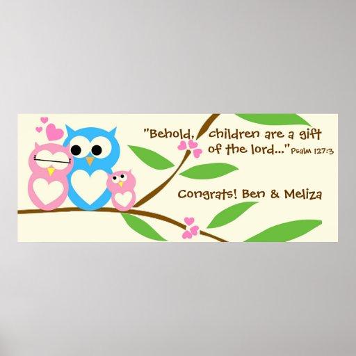 Congrats, Baby Girl Owl Baby Shower Banner Print