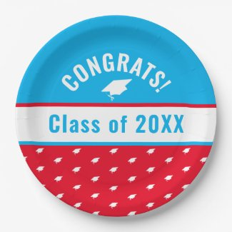 Congrats Class of 20XX Graduation Year Paper Plate