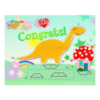 Congrats Cute Dinosaur Cut Paste Craft Worksheet Letterhead