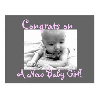 ¡Congrats encendido, una nueva niña! Postal
