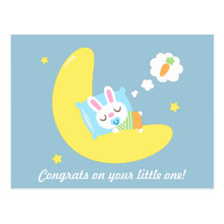 Congrats for New Parents Baby Bunny in Dreamland Postcard